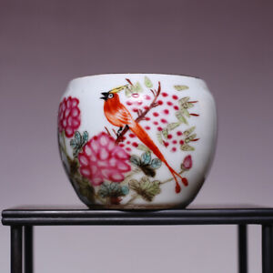 Rare Chinese Porcelain Qing Dynasty Landscape Old Pot Characters Pastel Jar Sn73