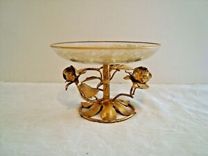Vintage Italian Tole Toleware Candy Dish Lots Of Gold Transferware Roses