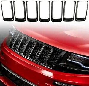 Abs Gloss Black 7pcs Front Grille Trim Insert Ring For Jeep Grand Cherokee 14 16