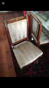 Set Of 4 Antique First Empire Style Dining Chairs