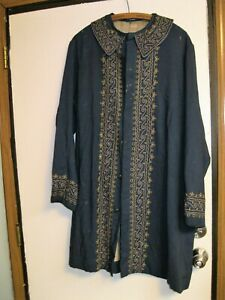 Antique Rare Find Early Colonial Coat Jacket W Blue Striped Lining Primitive