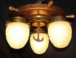 Vtg Nautical Maritime Ship Wood Steel Brass Glass Shade Chandelier Fixture
