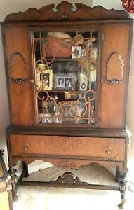 Antique China Curio Cabinet Showers Furn Co 1868 Medallion Hutch Wood Orig Glass