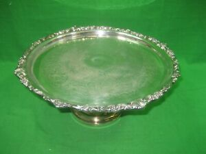 Vintage Silver Plated Cake Stand Serving Display Tray Platter Intricate Details