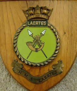 Vintage Hms Laertes Royal Navy Ship Plaque Wall Shield Hand Painted