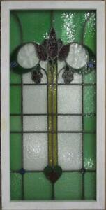 Large Old English Leaded Stained Glass Window Bordered Abstract 22 X 44 75