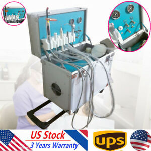Portable Dental Delivery Unit Rolling Case ultrasonic Scaler slow Suction 4 Hole