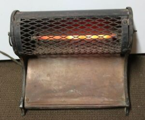 Antique William Penn Electric Cast Iron Space Heater With Copper Plate Vintage