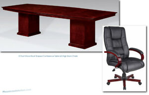 10 Foot Cherry Wood Conference Table And 8 High Back Chairs Furniture Set
