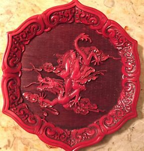 9 5 Chinese Red Lacquerware Dragon Plate