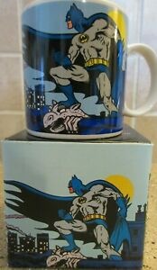 1989 Batman Coffee Mug DC Comics Gotham City Bat Signal Applause NOS / Box 197