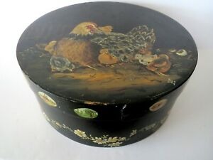 Round Wooden Handpainted Pantry Box Old Paint Folk Art Wood