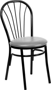 New Metal Fan Back Restaurant Chairs W Grey Vinyl Seat Lot Of 20 Chairs