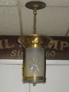 Antique Brass And Cut Glass Electric Ceiling Fixture Chandelier