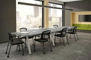 14 Foot Conference Table With Modern V Shaped Metal Legs White Gray Many Colors