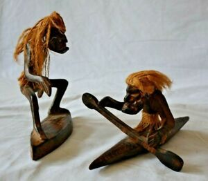 Two Wooden Statues Hand Carved Aboriginal Surfing And Kayak Indonesia Made
