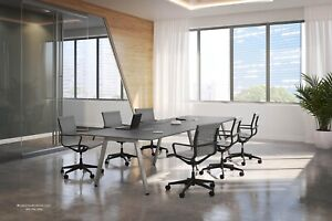 8 Foot Conference Table With Modern V Shaped Metal Legs White Gray Many Colors
