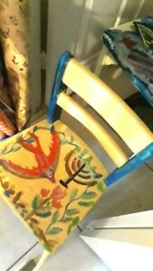 Child Sized Solid Oak Hand Painted Chair In Great Condition