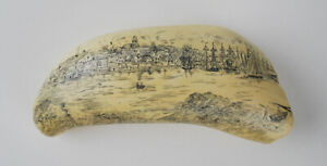 Artek Scrimshaw Replica Whale Tooth A View Of Nantucket Mass 1853 8