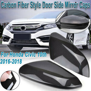 Carbon Fiber Rear Rearview Mirror Cover For Honda Civic Sedan Coupe 2016 2019