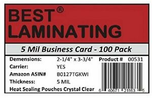 Best Laminating 5 Mil Business Card Laminating Pouches 100 Pk