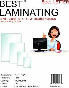 Best Laminating 3 Mil Letter Laminating Pouches 9 X 11 5 100 Pack