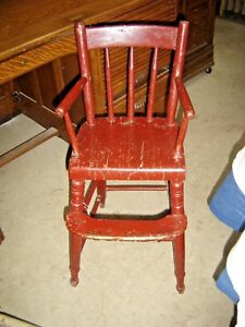 Antique Child S Primitive Youth Chair With Red Paint 7909