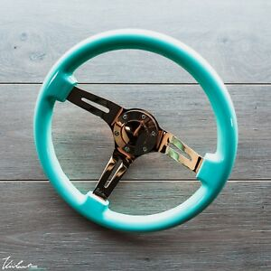 Viilante 2 Dish 6 holes Steering Wheel Tiffany Mint Gold Chrome Fits Nrg Hub