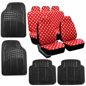 Car Seat Covers Highback Polka Dots Red For Girl Rubber Floor Mat Set