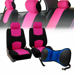 Front Bucket Seat Covers Pink With Seat Back Cushion Pad Blue For Auto Car Suv