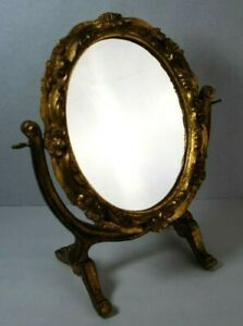 Vintage Florentia Decorative Table Top Mirror Made In Italy Gilded Wood