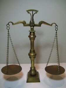 Vintage Brass Scales Of Justice Lawyer Libra Balance Office Decor Display Prop