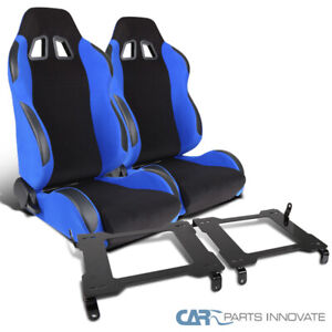 05 14 Black Blue Ford Mustang Racing Bucket Seats Laser Welded Mounting Brackets
