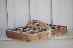 Vintage Antique Primitive Wooden Nail Tote Tool Box Rustic Farm Caddy Carrier