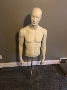 White Mannequin Male Torso Dress Form With Stand Gently Used