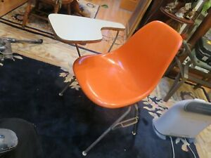 Herman Miller Mid Century Fiberglass Orange Shell Stacking Flip Up Desk Chair