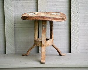Old Vintage Rustic Primitive Metal Cow Milk Stool Bench Country Farm Tool 3 Leg