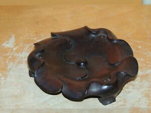 Antique Wood Wooden Censer Base Stand Lotus 65mm Chinese Qing Republic Hardwood