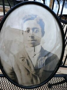 Photo Black American Large Oval Convex Glass Metal Framed Chain Wall Hanging 14