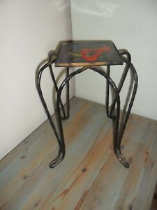 Unusual Small French Antique Wrought Iron Stand With Tile Top