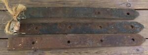Antique Barn Gate Door Strap 3 Club End Hinges Wrought Iron 15 Blacksmith Maine