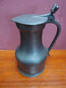 French Pewter Urn Shaped Claret Jug Cider Pitcher Flagon With Lid