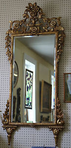Superb 1880 S Tall French Carved Gilded Mirror W Flowers Large Beautiful