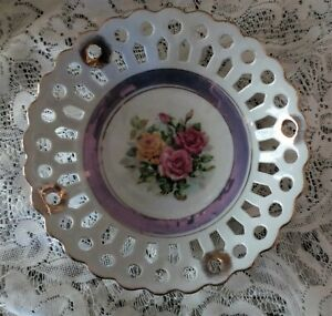 Lustreware Plate Decorative Reticulated Display Piece Gold Trim Cabbage Roses