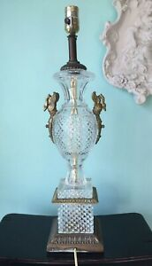 Vintage Crystal Brass Table Lamp Baccarat Style Urn Swans Bronze Tone