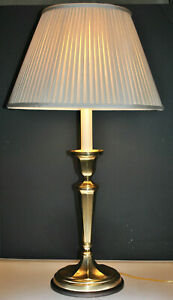 Vintage Frederick Cooper Solid Brass Oval Table Lamp With Original Shade