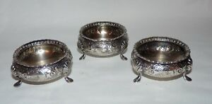 3 Antique English Sterling Silver Footed Salt Cellers 1880 Victorian 176 Gram