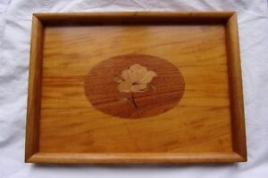Vintage Marquetry Wood Inlay Frame Tray Floral Single Rose Design
