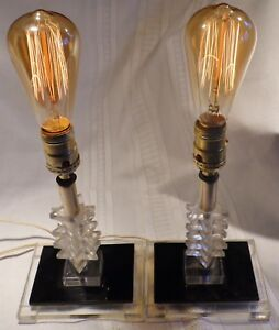 Twin Vtg Mcm Staggered Triangles Lucite Lamp Deco Art Nouveau Dressing Table Top
