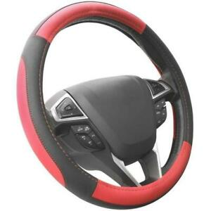 Black And Red Microfiber Leather Steering Wheel Auto Car Cover Universal 15 Inch